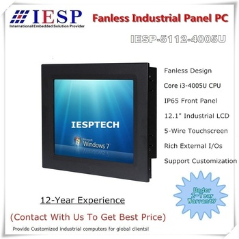 12.1 inch Fanless Industrial Panel PC, Core i3-4005U CPU, 4GB DDR3l RAM, 64GB SSD, industrial HMI, Touch panel pc, OEM/ODM
