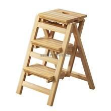 Escalera plegable de madera sólida para el hogar, escalón multifuncional Simple para interior, 3 S