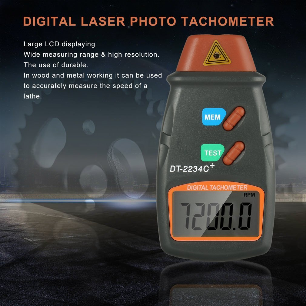 DT-2234C+ Digital Engine Tachometer Speed Digital Speedometer Digital Laser Photo Tachometer Non Contact Tach Speed Meter