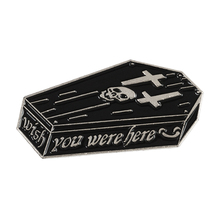 New Punk Wish you were here,Life was ok Skeleton and coffin Enamel pins Dark Brooches Badges Gothic jewelry