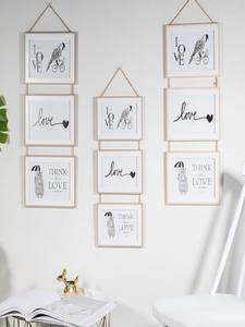 Picture-Holder Wall-Decoration Photo-Frame Wooden 3-Connected-Combination European Solid