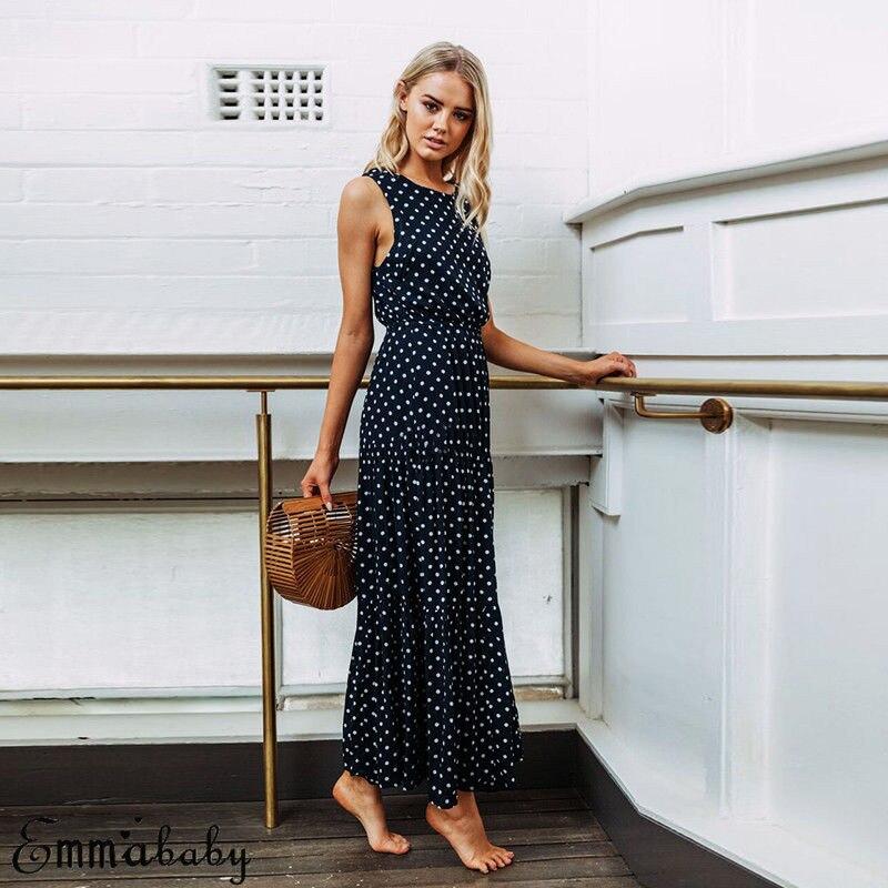 H4f8d20ad867f479183f6b332304b17f95 2019 Bobo Women Dark Blue Boho Loose Sleeveless Holiday Dot Print Long Maxi Dress Evening Party Beach Dresses Summer Sundress
