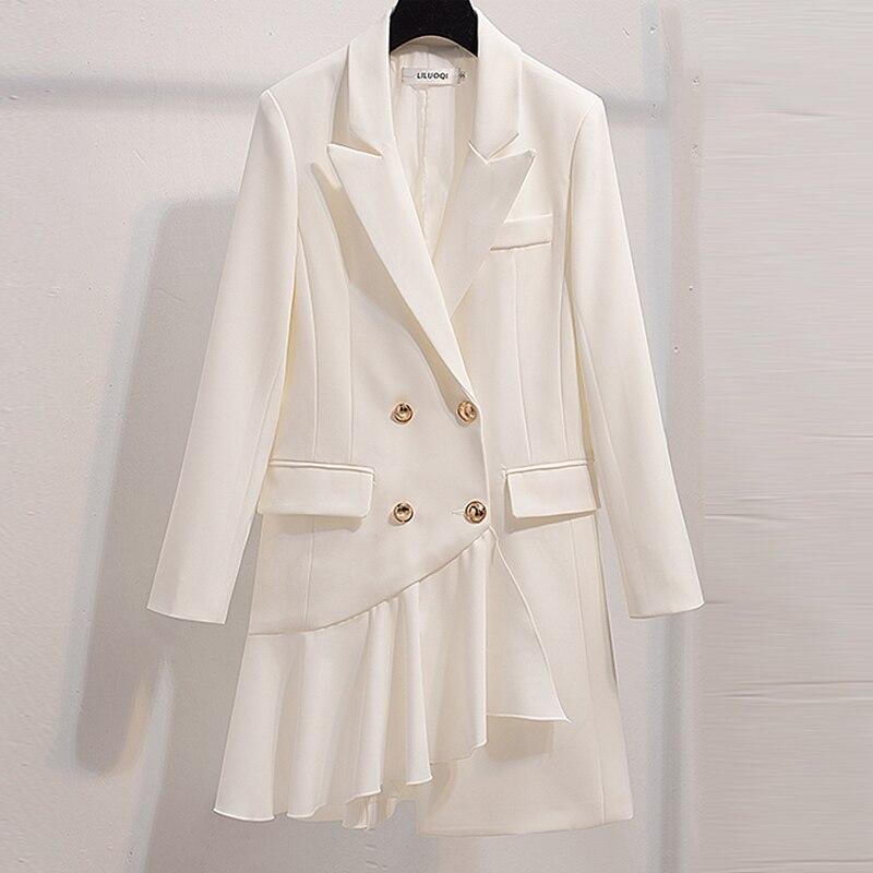 Spring Suit Blazer Women 2019 Casual Double Breasted Asymmetrical Women Long Jackets Elegant Ruffle Long Sleeve Blazer Outerwear