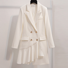 Spring Suit Blazer Women 2019 Casual Double Breasted Asymmet