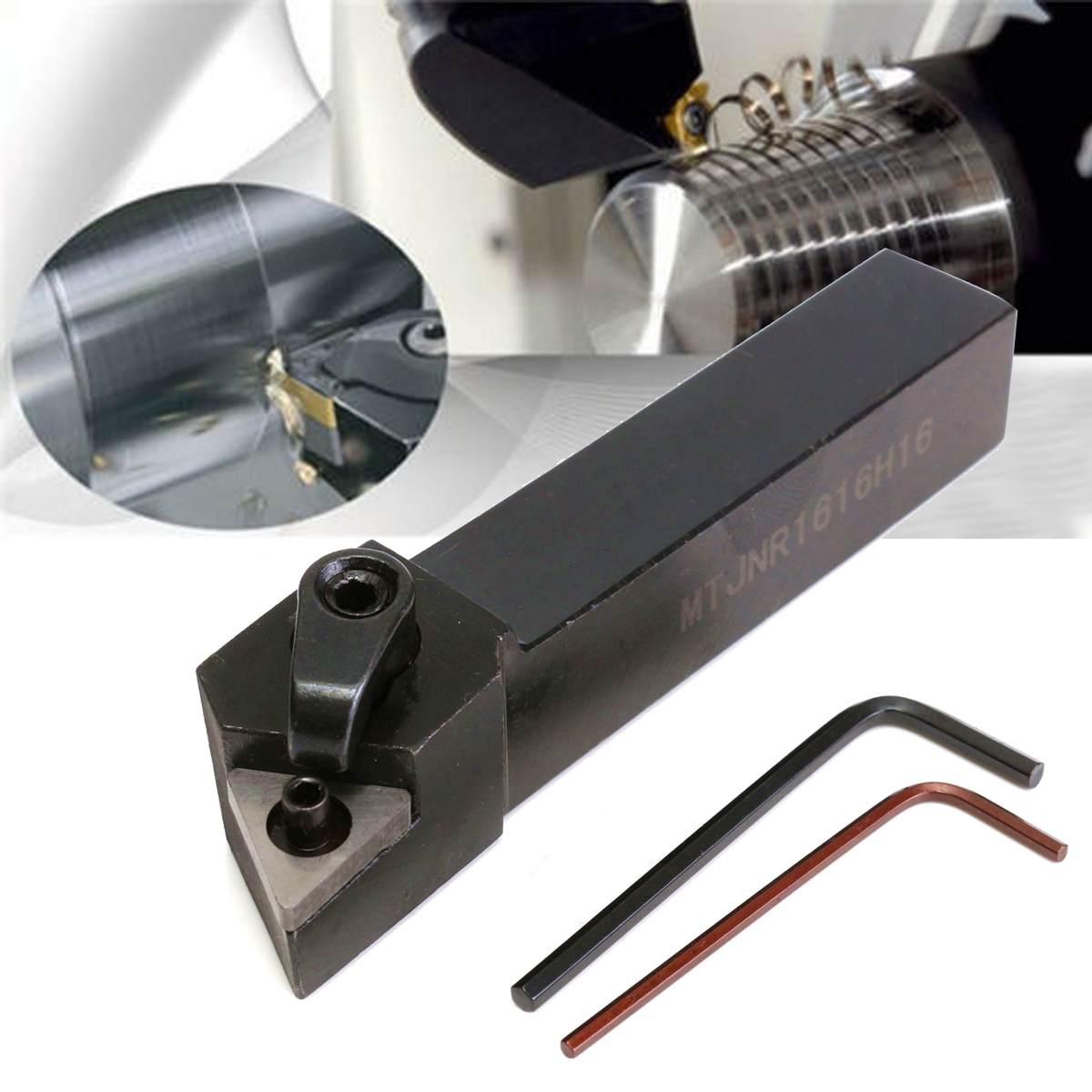 3Pcs MTJNR1616H16 Lathe Turning Tool Holder 16x100mm For TNMG1604 Insert Kit 1 Wrench+2 Boring Bar Set