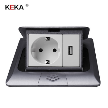 KEKA All Aluminum Silver Panel Pop Up Table Floor Socket 16A Russia Spain EU Standard Power Outlet With USB Charging Port 5V 1A joho aluminum black silver panel eu standard pop up desktop table socket electrical outlet with customized port pc 158