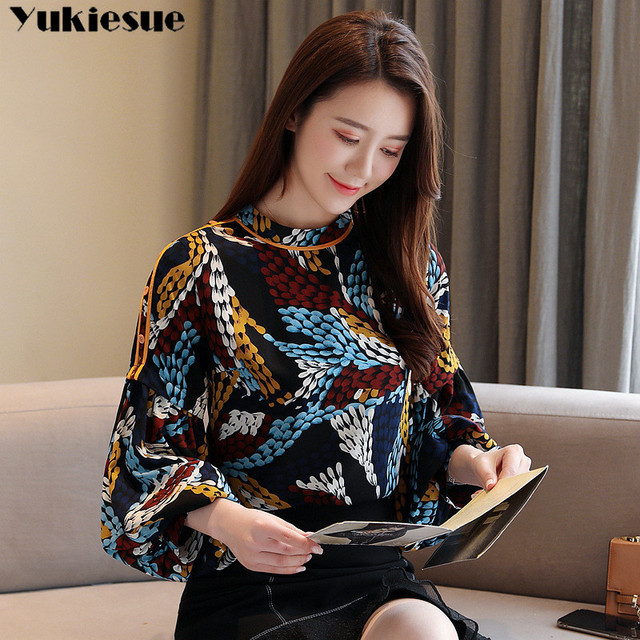 2020 summer long sleeve women's shirt blouse for women blusas womens tops and blouses printed shirts ladie's top plus size 3