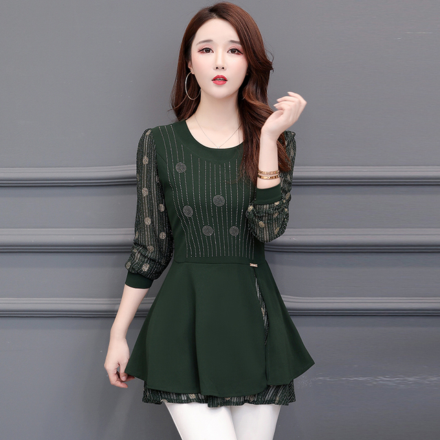 Women Blouses 2020 Autumn Long Sleeve Fashion Print Chiffon Blouse Women Shirts Korean Waist Plus Size Ladies Tops Blusas Mujer 2