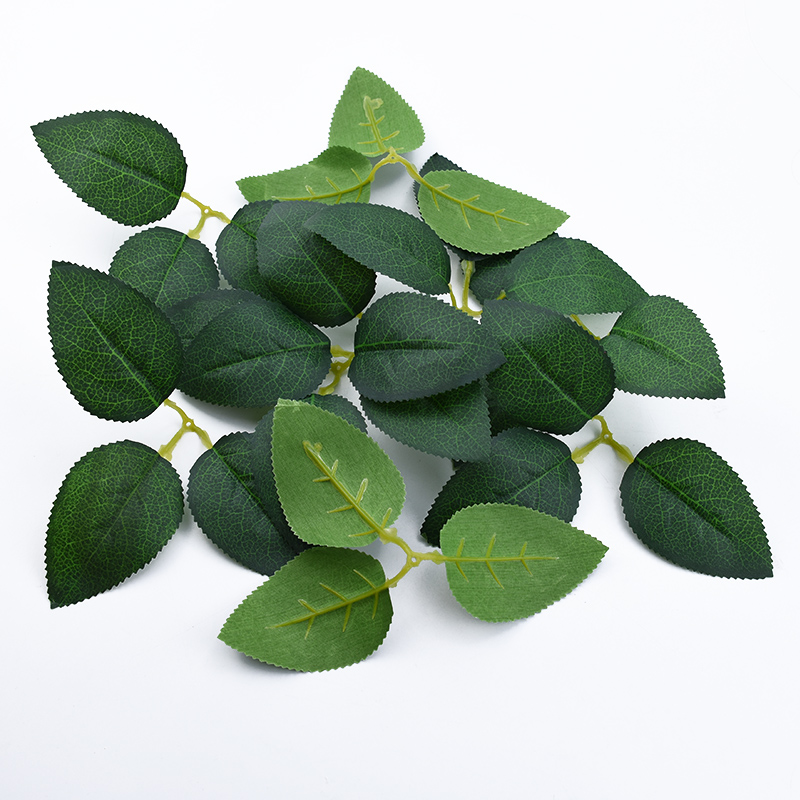 20pcs Silk Roses Green Leaf Wedding Bridal Accessories Clearance Christmas Home Decor Crafts Leaves Decorative Flowers Wreaths
