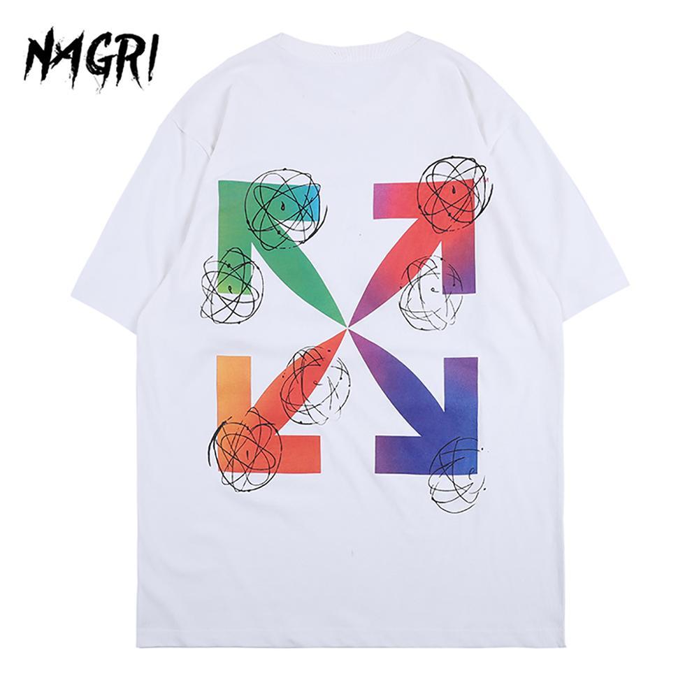 NAGRI T-shirts Men Arrow Funny Graphic Print Short Sleeve T-Shirt Male Streetwear Casual Basic Tee Shirts 2020 Summer