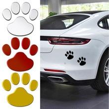 2Pcs/Set 3D Car Sticker Cool Design Paw Animal Dog Cat Bear Foot Prints Footprint Decal Car Stickers Silver Red Black Golden