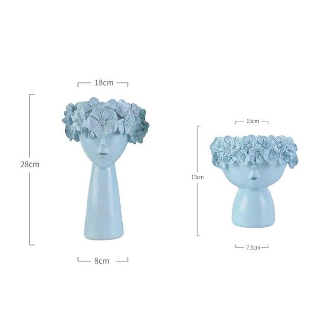 Nordic Home Decoration Resin Vase Statue Sculpture Makeup Brush Holder Storage Box Pen Holder Creative Flower Pot Art Supplies 6