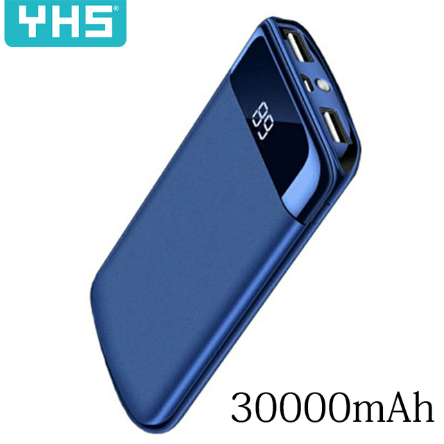 30000mah Power Bank External Battery PoverBank 2 USB LED Powerbank Portable Mobile phone Charger for Xiaomi MI iphone 8 Samsung