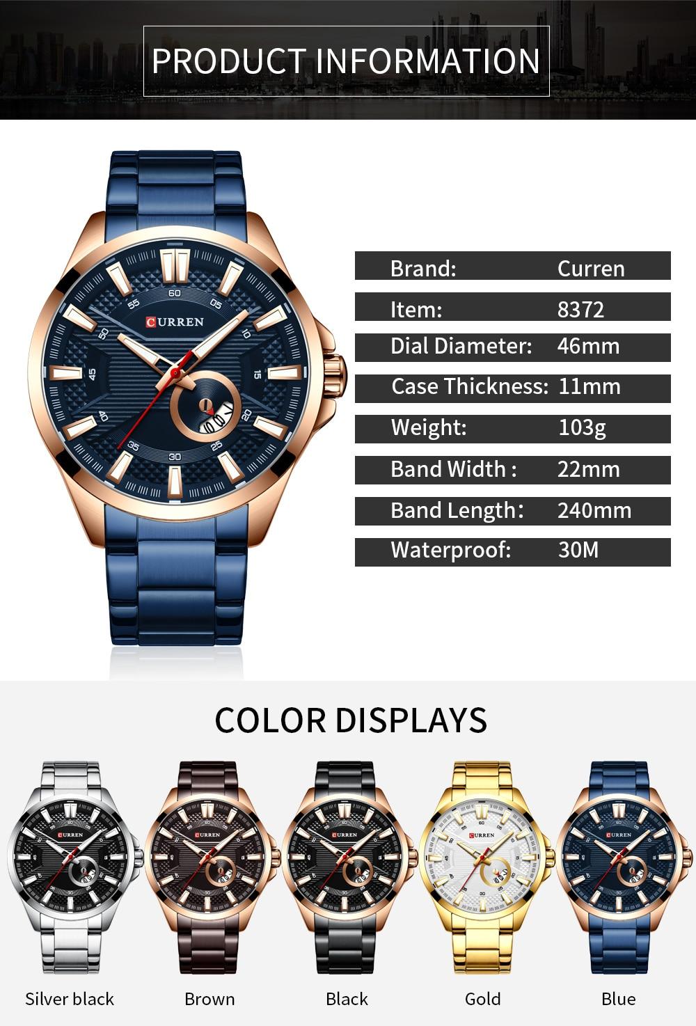 H4f8dc186dcb548b6b84a27c13ddf7c922 New Stainless Steel Quartz Men's Watches Fashion CURREN Wrist Watch Causal Business Watch Top Luxury Brand Men Watch Male Clock