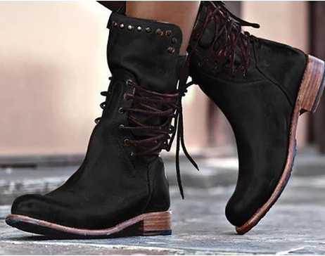 Women-s-Boots-Spring-and-autumn-The-New-Round-head-zipper-Lace-up-Thick-heel-Low(3)