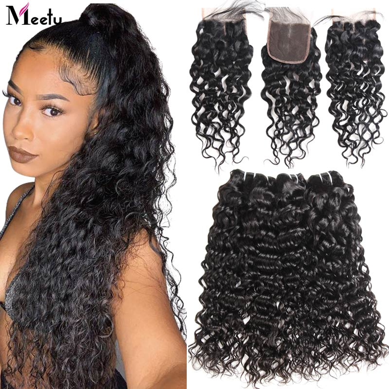 Meetu Water Wave Bundles With Closure Brazilian Hair Weave Bundles With Closure 100% Human Hair 3 Bundles With Closure Non Remy