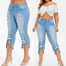 Plus Size Skinny Jeans Women Casual Elastic Denim Jeans Nature Waist Mom Jeans Pencil Pants Washed Summer Women Pants elf sack new fashion women demin jeans autumn plus size water wash hemming capris casual skinny jeans women denim pencil pants