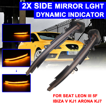 1 Pair Rearview Mirror Signal Lamp Highlight LED Car Dynamic Turn Light Yellow for Volkswagen for VW SEAT LEON 3 5F,IBIZA,ARONA