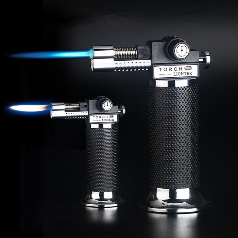 632.9руб. 14% СКИДКА|Газовая зажигалка большой емкости фонарь турбина Зажигалка распылитель бутан два пламени Синий Пламя сигары Взрывозащищенная Зажигалка дикая кухня|Спички| |  - AliExpress