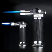 Gas Lighter Kapasitas Tinggi Torch Turbin Lebih Ringan Spray Gun Butana Dua Api Api Biru Cerutu Explosion-Proof Lebih Ringan Liar dapur(China)