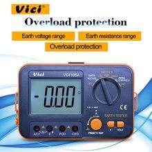 Vici VC4105A цифровой тестер сопротивления заземления 0-1999ohm тестер переменного напряжения заземления 0-199,9 в ЖК-тестер заземления с подсветкой
