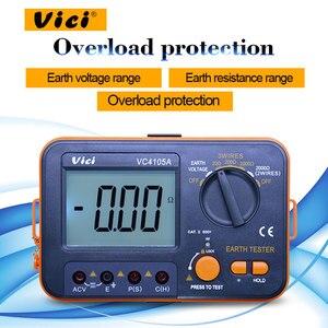 Vici VC4105A цифровой тестер сопротивления заземления 0-1999ohm тестер напряжения переменного тока 0-199,9 V LCD подсветка заземления тестер