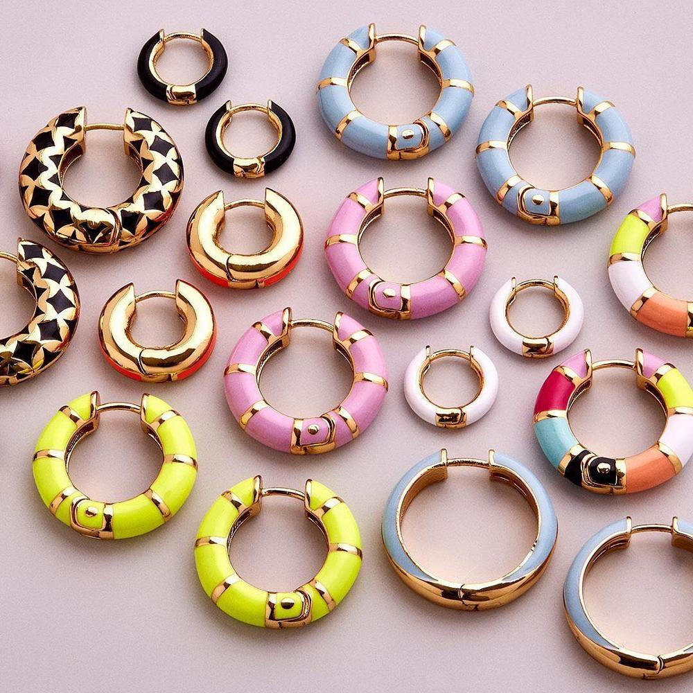 Best Lady Boho Glass Crystal Hoop Earrings For Women Ethnic Multi Color Wedding Gift Metal Color Painting BA Earring Jewelry New