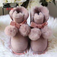 SHUANGGUN 2019 New Children Boots For Girls Kids Snow Boots 100% Genuine Sheepskin Leather Natural Fur Warm Winter Shoes