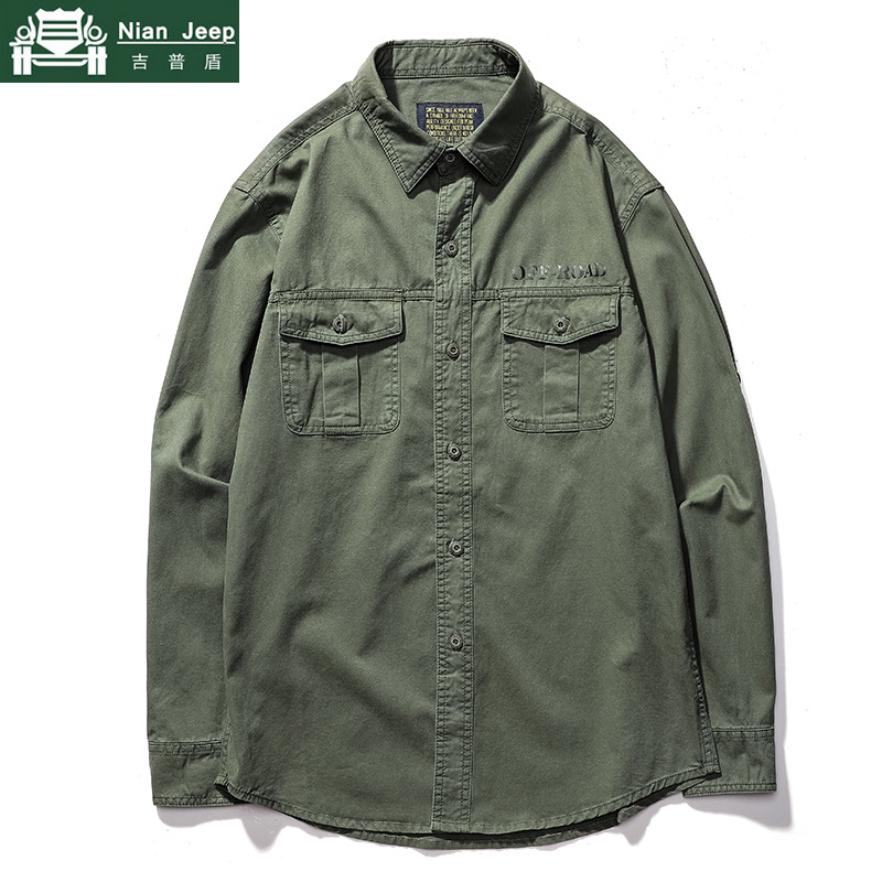Casual Dress Shirt Men Breathable Cotton Military Multi-pocket Men's Shirts Solid Long Sleeve camiseta masculina Plus Size S-6XL