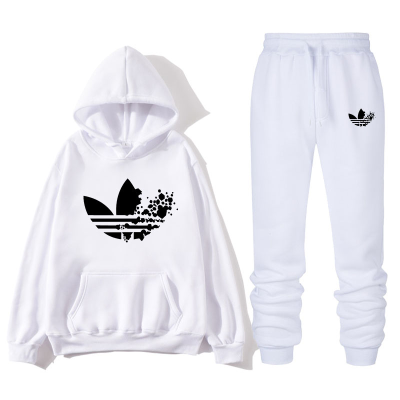 2019 Brand Tracksuit Fashion ADI Printing Men Sportswear Two Piece Sets All Cotton Fleece Thick Hoodie+Pants Sporting Male Suit