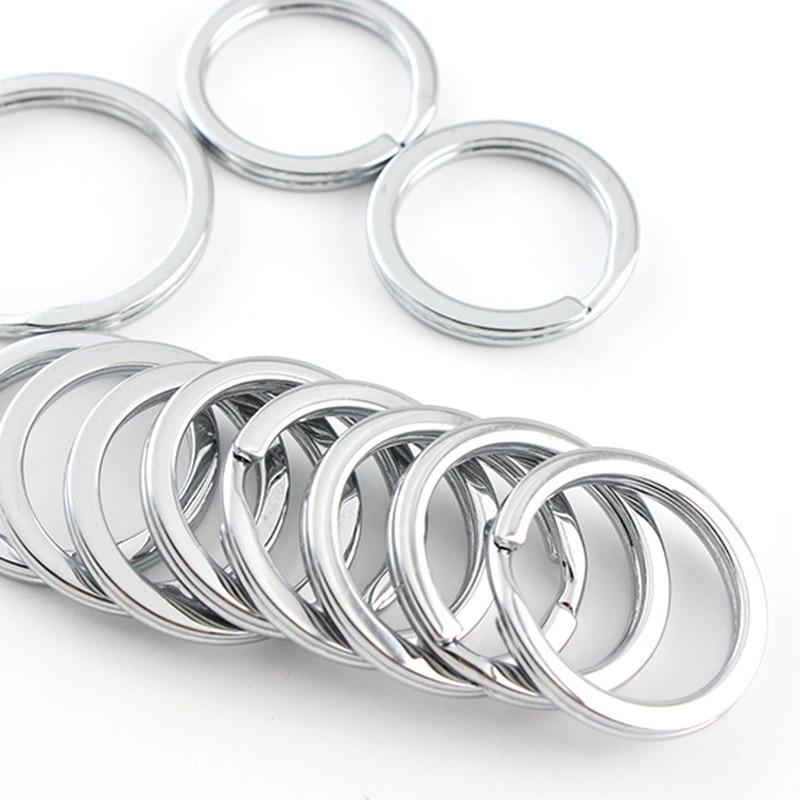 50pcs! Round Metal Key Ring Sturdy And Durable 28mm 35mm Keychain Holders Decoration Women Men Anti-lost Keyring Organizador