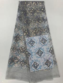 2020 high quality sequence French Nigerian sequins net African tulle mesh lace fabric for dress 5yards/lot  JF426