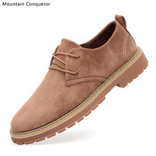 Mountain Conqueror Brand 2019 Spring Suede Leather Men Shoes Casual Classic Sneakers For Male Comfortable Footwear Size 39-44