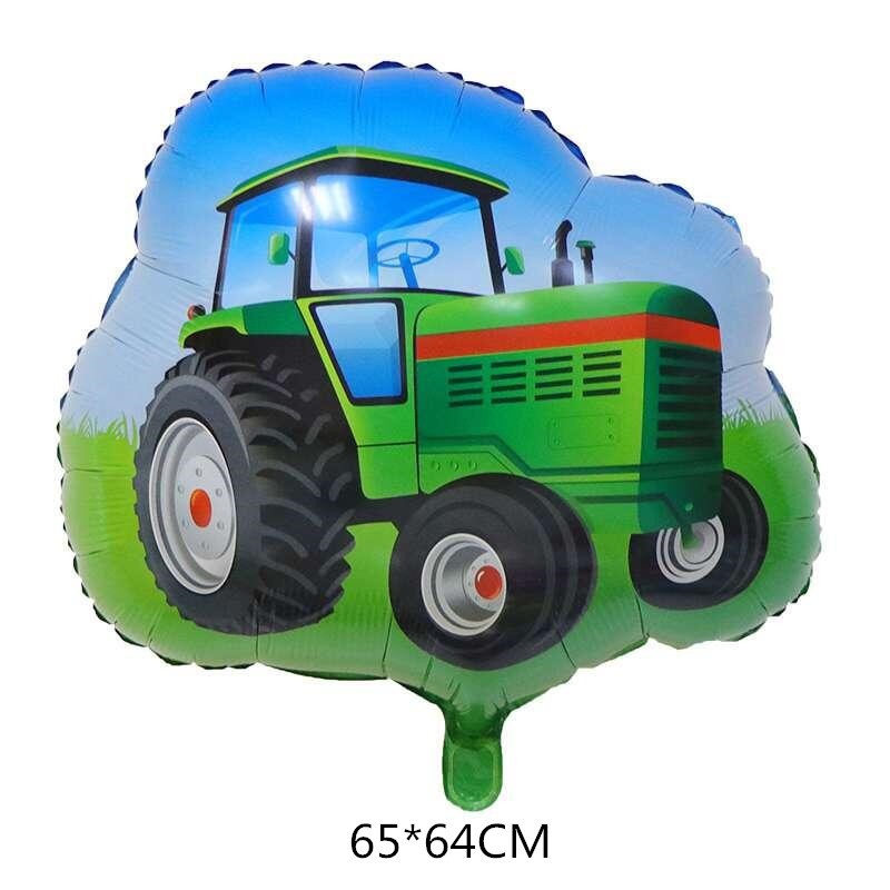 6pcs Cartoon Car Ballons Tractor Globos 32inch 1 2 3st Number Children Boy Gifts Birthday Party Holiday Decorations Kids Balls-5