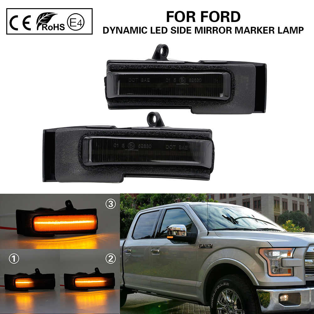 Pair Dynamic Smoked Lens LED Side Mirror Turn Signal Light For 2015-2018 F150