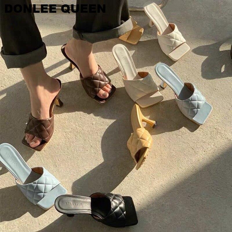 Fashion Square Peep Toe High Heel Slippers Women Summer Slip On Thin Heels 7CM Slides Embroidery Elegant Women Mules Brand Shoes