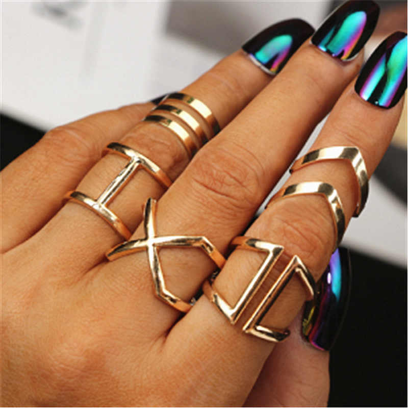 2019 fashion of the new X thermal model of finger gelenke women  surrounding three-dimensional hollow ring cross hot fashion in