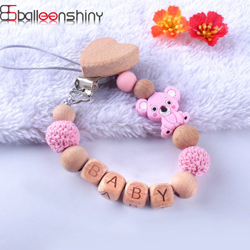 BalleenShiny Baby Toys Baby Silicone Pacifier Clips Wooden Bead Chains Cartoon Koala Teething For Newborn Nipple Pacifier Chain