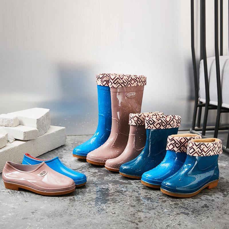>Rain shoes for four seasons <font><b>medium</b></font> high tube velvet non-skid <font><b>kitchen</b></font> labor protection shoes wear resistance rain water boots