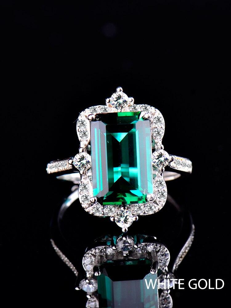 Zümrüt kristal yüzük kadınlar için, 925 ayar gümüş, takı lüks alyanslar nişan, gül altın beyaz altın cadılar bayramı