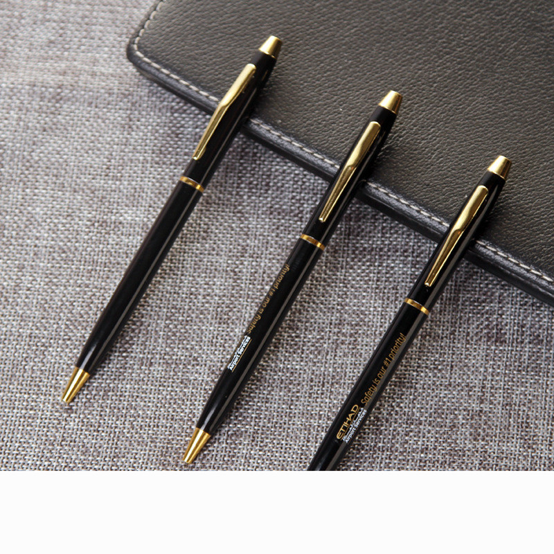 Black Business Medium Nib Fountain Pen Gold Hook Trim New