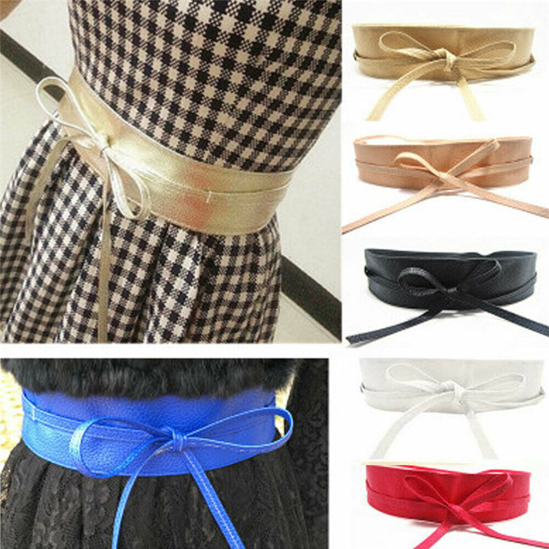 Womens Waist Belt Stretch Buckle Bow Wide Leather Elastic Corset Waistband 5 Colors