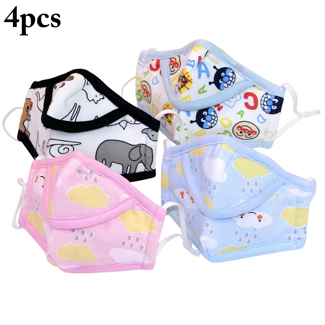 4pcs Children Anti-Dust Cotton PM2.5 Face Mouth Mask Colorful Cartoon Printing Warm Winter Breath Mouth Masks For Kids