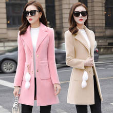 Women Spring And Autumn Coat With no Accessories Slim Wool Coat Winter Coat Women Wool Oversize Coat For Women Woolen Coats cheap yunxiangyishang Polyester Long 3a586 V-Neck Covered Button REGULAR Full Wool Blends Pockets 90 polyester High Street Solid