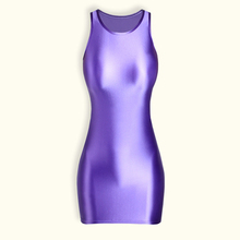 DROZENO One-piece solid color dress slippery tights Beach party in long dress