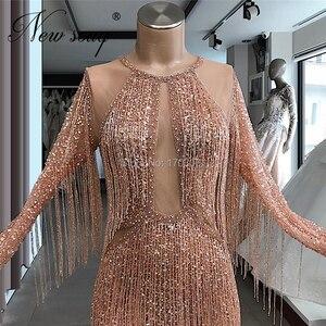 Image 2 - Женское вечернее платье с кисточками, розовое платье знаменитости с бисером, турецкие кафтаны для выпускного вечера, 2020