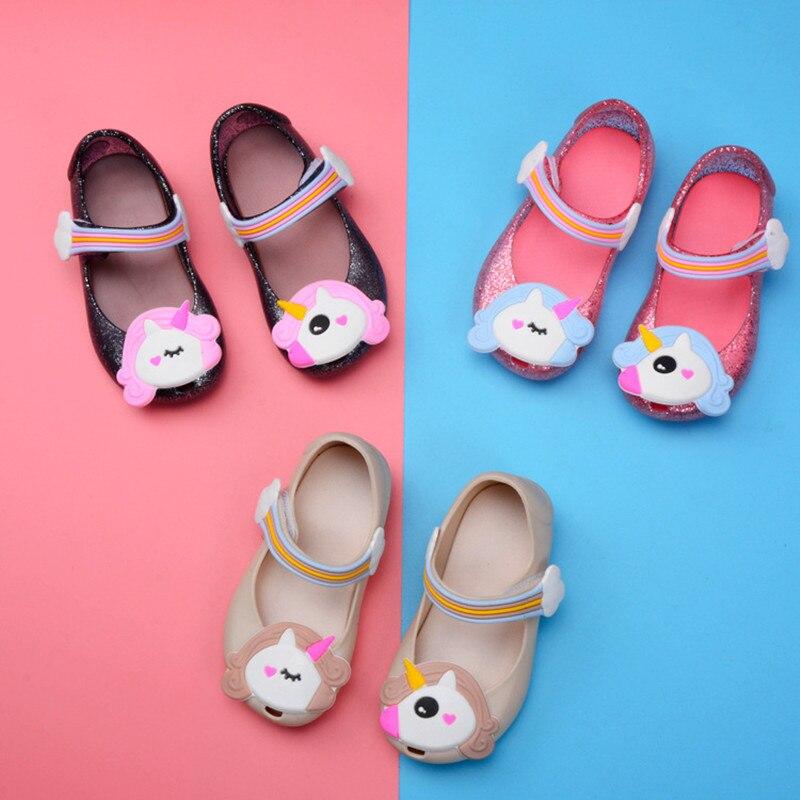 Mini Melissa 2019 Unicorn Jelly Sandal Girls Shoes Winter Jelly Shoe Dargon Sandals Fish Mouth Girl Non-slip Kids Sandal  SH122