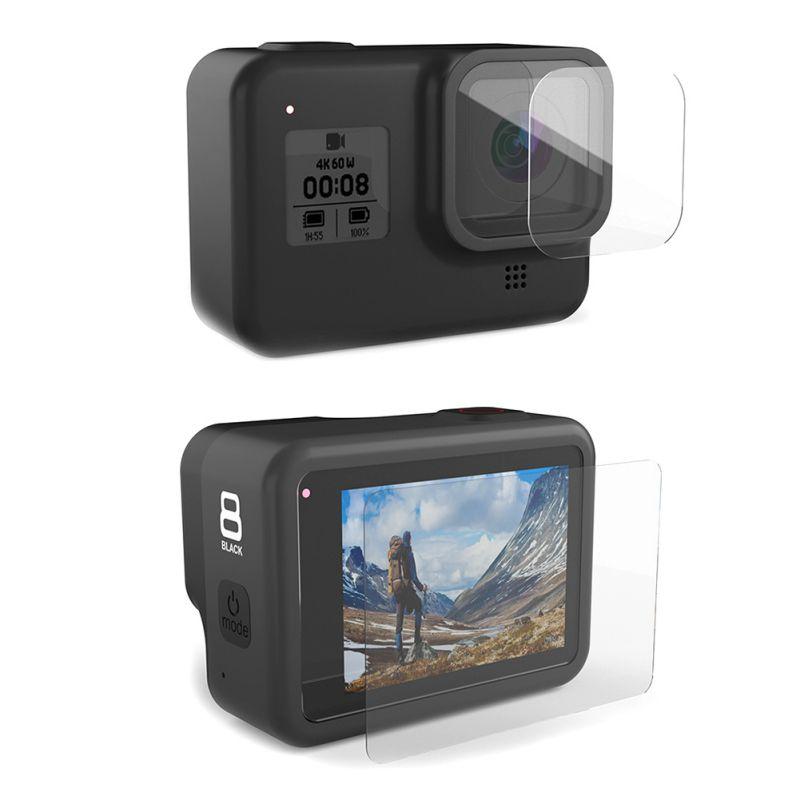 Super Lens And Display Screen Tempered Film Set For GoPro Hero 8 Black Camera Camera Screen Lens Tempered Film Set