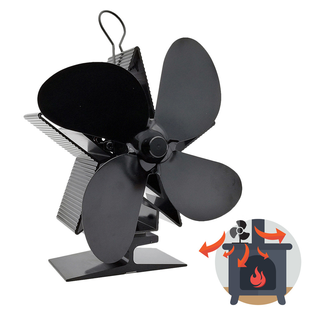 T1/T2/T3/T4 4 Blade Heat Powered Stove Fan Log Wood Burner Eco- Friendly Mute Home Fireplace Fan Efficient Heat Distribution