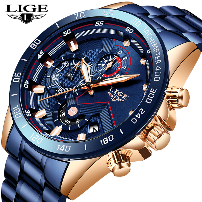 LIGE 2019 New Fashion Mens Watches Stainless Steel Top Brand Luxury Sports Chronograph Quartz WristWatch Men Relogio Masculino
